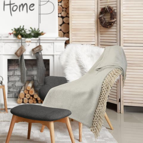 Slight Chevron Soft Gray Throw Blanket with Fringe