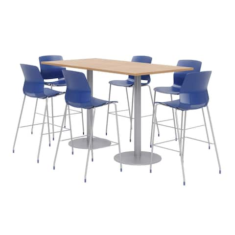 Olio Designs 6' x 3' Bistro Table Set, 6 Lola Barstools, Maple