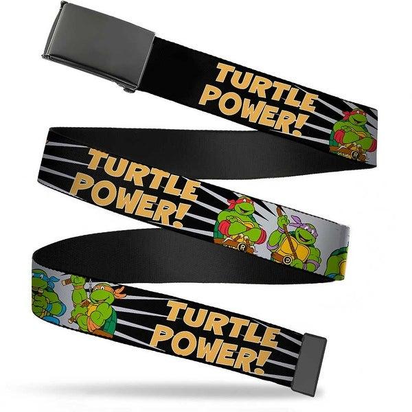 Blank Black Buckle Classic Teenage Mutant Ninja Group Pose Turtle Web Belt
