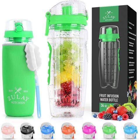 Zulay Water Bottle Fruit Infuser 34oz -Energy Green - With Sleeve