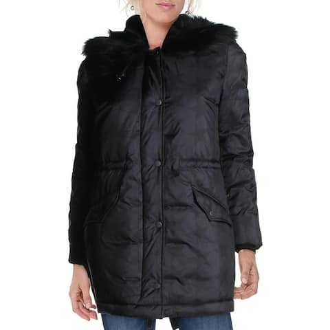Betsey Johnson Super Star Printed Winter Duffle Coat with Faux Fur Lined Hood - Black