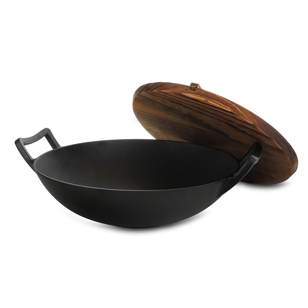General Store Addlestone 2 Piece 14 Inch Heavy Duty Cast Iron Wok with Wood Lid. Opens flyout.