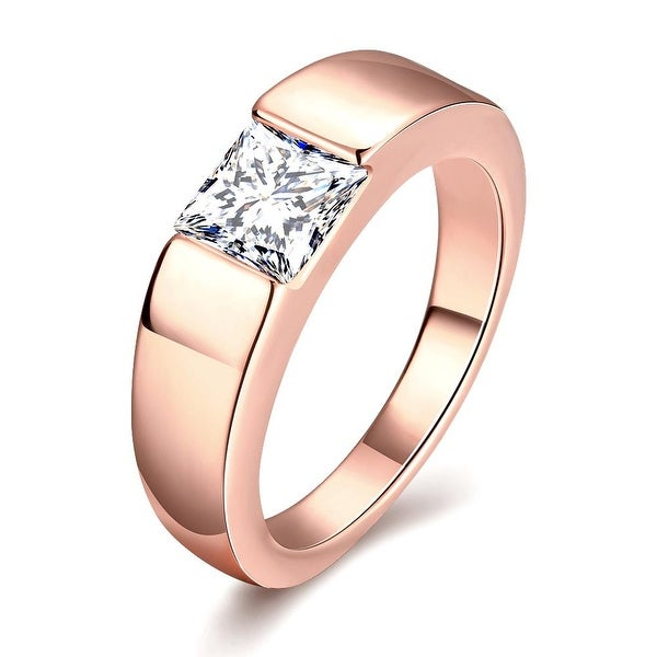Classic Design with Jewel Insert Rose Gold Ring