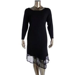 Eileen Fisher Womens Plus Crochet Trim Long Sleeves Casual Dress - 3X
