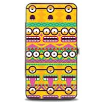 Aboriginal Minion Expressions + Minions Paradise Teal Fuchsia Greens Hinged Hinge Wallet - One Size Fits most