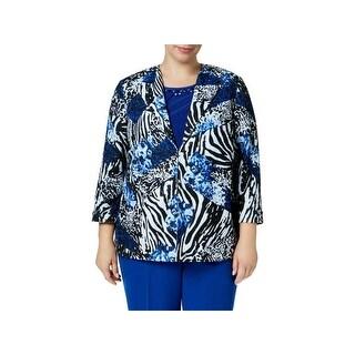 Alfred Dunner Womens Plus Jacket Animal Print 3/4 Sleeves
