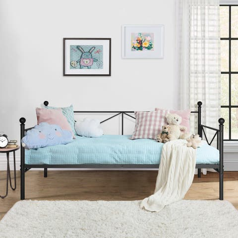 Vecelo Black Wrought Iron Twin Daybed