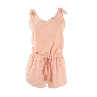 Miken Women's Tie-Shoulder Drawstring Terry Romper Swim Cover-Up - Peach