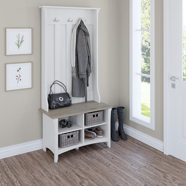 Bush Furniture Salinas Hall Tree with Shoe Storage Bench in Pure White and Shiplap Gray