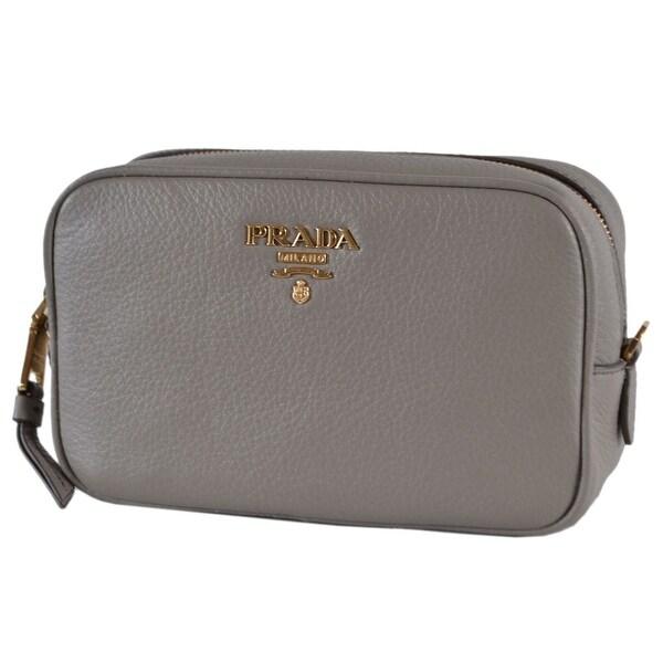 32e2e10c91fb6a Prada Women's 1ND007 Argilla Grey Textured Grain Leather Logo Cosmetic  Bag
