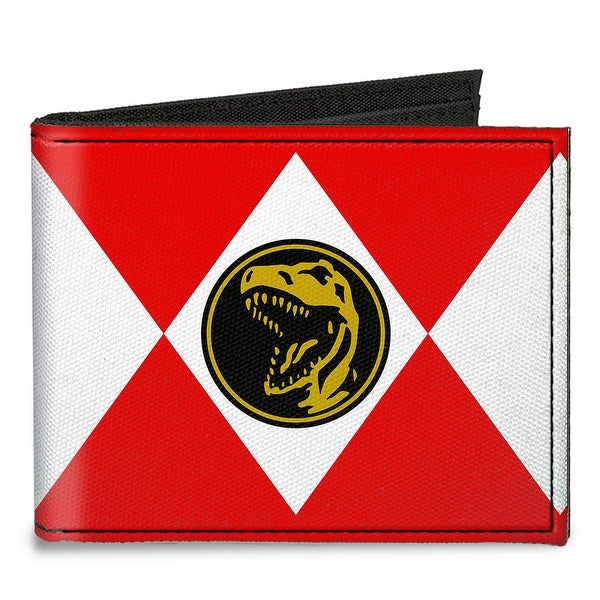 Diamond Red Ranger Tyrannosaurs Power Logo Canvas Bi Fold Wallet One Size - One Size Fits most