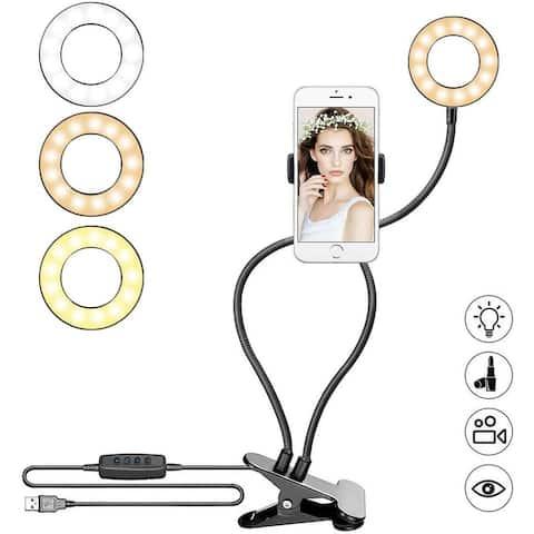 """3.5"""" LED Circle Light by Indigi - inline Desk Clip & Brightness Control, for Makeup, Vlog, YouTube"""