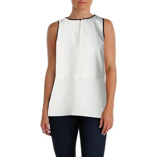 Lauren Ralph Lauren Womens Petites Pullover Top Sleeveless Contrast trim