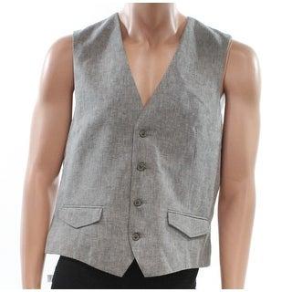 Tasso Elba NEW Gray Heather Mens Size Large L Four-Button Linen Vest
