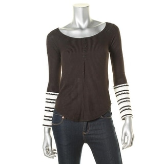 Energie Womens Juniors Contrast Trim Long Sleeve Pullover Top