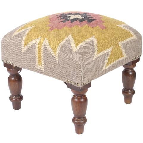 Handmade Kilim Upholstered Wooden Footstool (India)