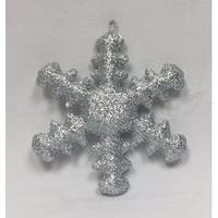 """12"""" Sparkly Silver Inflatable Snowflake Commercial Christmas Ornament"""