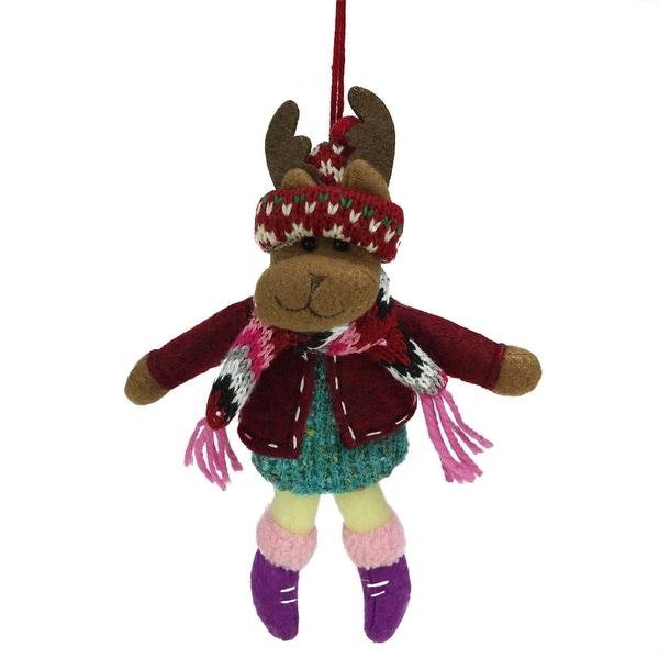 "7"" Bohemian Holiday Plush Moose Girl with Dangling Legs Christmas Ornament - multi"