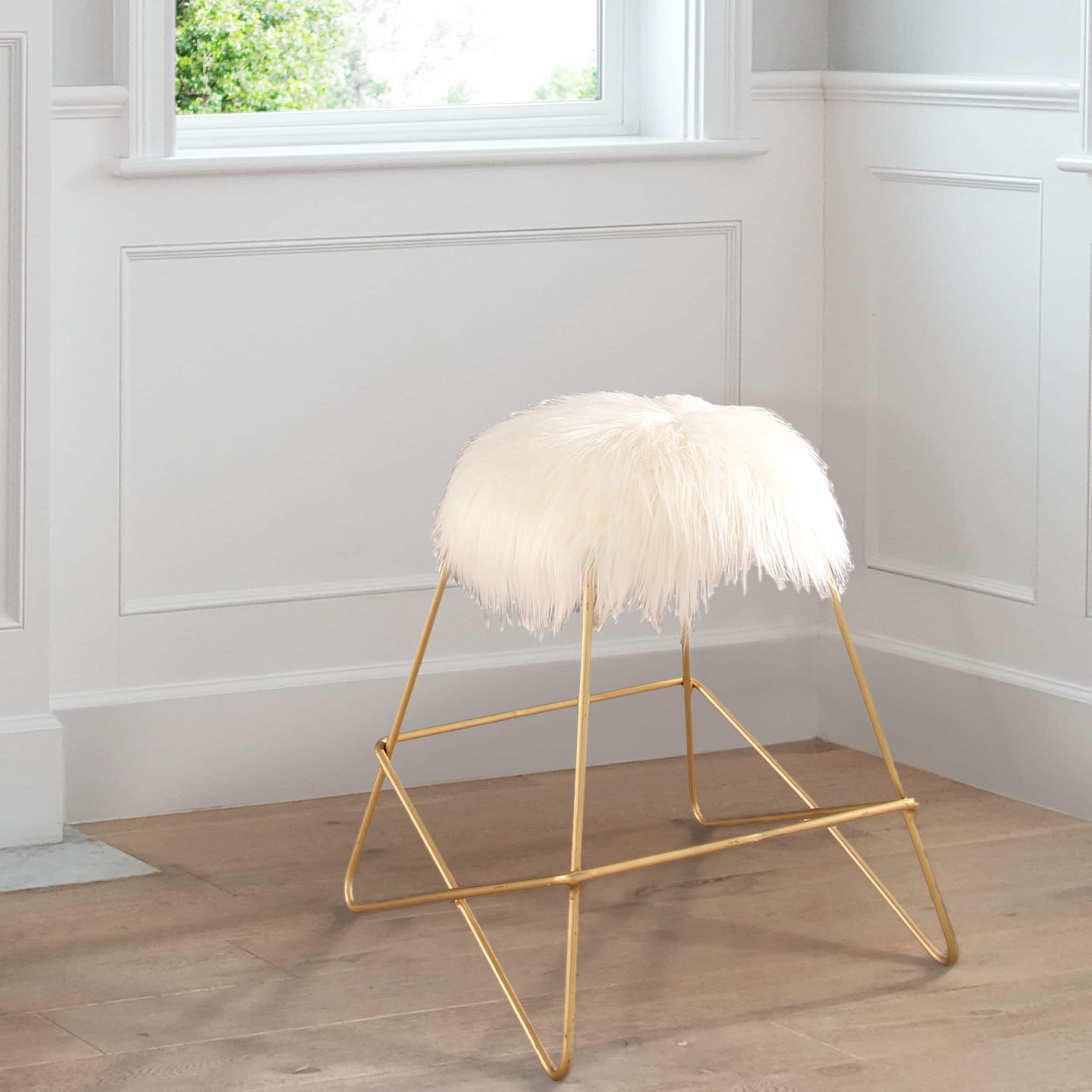 Shop Black Friday Deals On Abbyson Zoe White Faux Fur Iron Vanity Stool On Sale Overstock 15073000