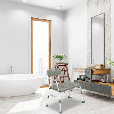 3 Blow Molding Plates Aluminium Alloy Elderly Bath Chair - Grey