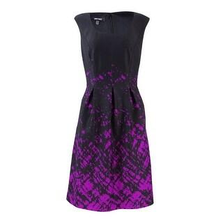 Nine West Women's Ink Splatter Printed Ponte Dress