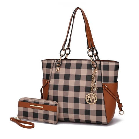 MKF Collection Yale Checkered Tote Bag with Wallet by Mia K.