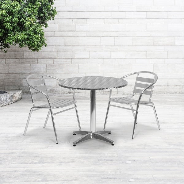 """31.5"""" Round Aluminum Indoor-Outdoor Table Set with 2 Slat Back Chairs. Opens flyout."""