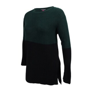 Vince Camuto Women's Colorblocked Sweater (Winsor Green/Black, L) - winsor green/black - l