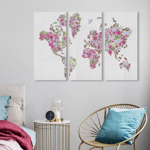 Oliver Gal 'Mapamundi Roses Triptych' Maps and Flags Wall Art Canvas Print Set - Pink, Green
