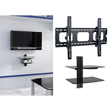 shop 2xhome new tv wall mount bracket two 2 double shelf package secure led lcd plasma. Black Bedroom Furniture Sets. Home Design Ideas