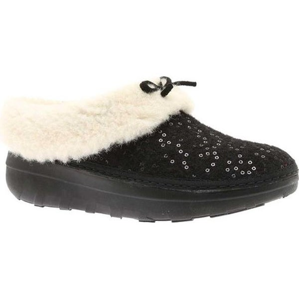 9b09676f1 Shop FitFlop Women s Loaff Snug Slipper Black Sequin Felted Textile ...