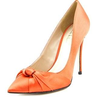 Nicole Miller Jeffrey Women Pointed Toe Canvas Orange Heels