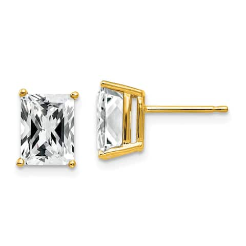 14K Yellow Gold 8x6mm Radiant Cut Cubic Zirconia Earrings by Versil