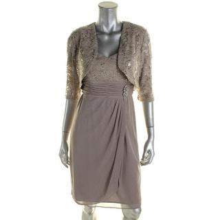 R&M Richards Womens Petites Evening Dress Lace Chiffon - 6P