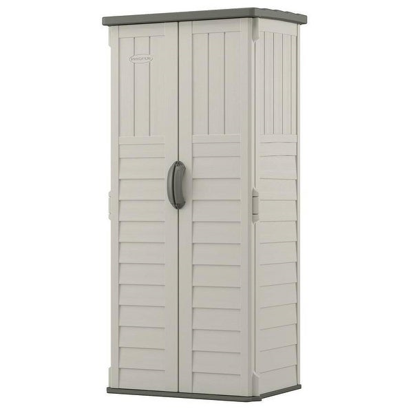 Outdoor Heavy Duty 22 Cubic Ft Vertical Garden Storage Shed in Taupe Grey. Opens flyout.