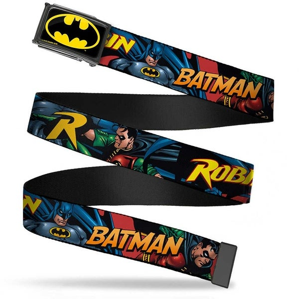Batman Fcg Black Yellow Chrome Batman & Robin In Action W Text Web Belt