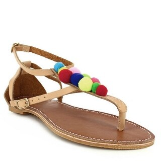 Indios Adult Beige Buckled Strap Colorful Embellishment Sandals