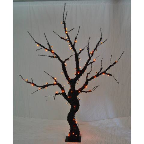 Christmas at Winterland WL-HTR-06-BK-LOR 6 Foot Pre-Lit Halloween Tree with Black Base and Orange LED Lights