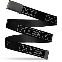 "Blank Black 1.25"" Buckle Hemi Bold Outline Black White Webbing Web Belt 1.25"" Wide - M"