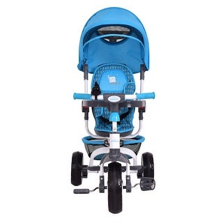 Gymax Blue Baby Stroller Tricycle Detachable Learning Toy Bike