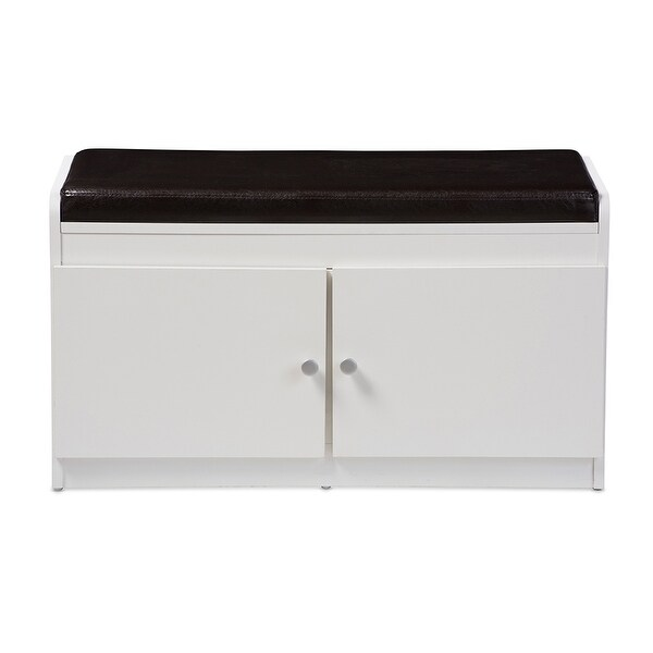 Lucerne White Wood 2 Door Entryway Shoe Cabinet With Faux Leather Seating  Bench