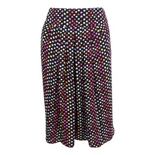 Kasper Women's Plus Size Dot Printed Pleated Skirt - pink perfection multi