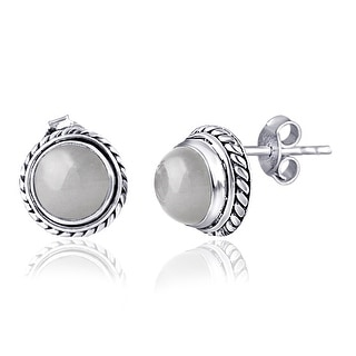 Link to Moonstone Sterling Silver Round Stud Earrings by Orchid Jewelry Similar Items in Earrings