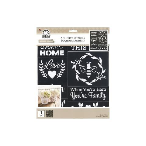 39242 plaid folkart stencil adh 8 5x9 5 farmhouse family