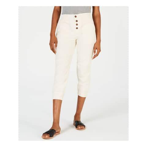 FREE PEOPLE Womens Ivory High Waist Pants Size L
