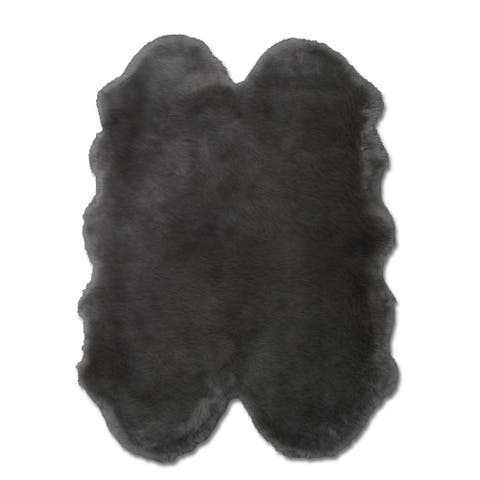 "Faux Sheepskin Grey Rug 4'0"" x 6'0"" - ECARPETGALLERY - 5'0 x 6'0"