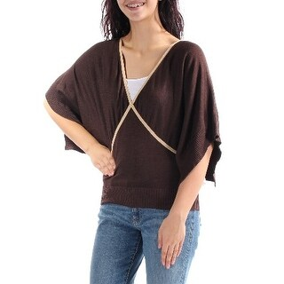 MAISON JULES $169 Womens New 4965 Brown V Neck Dolman Sleeve Casual Top M B+B