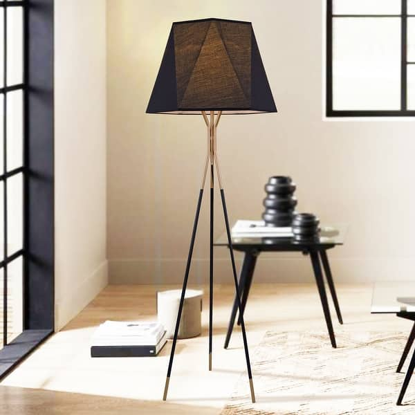Shop Brooke Matte Black Gold Bronze 1 Light Floor Lamp With Fabric Cone Shade On Sale Overstock 31497595