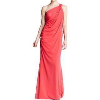 Adrianna Papell Womens Evening Dress Chiffon One Shoulder - 8
