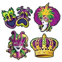 "Club Pack of 24 Green, Yellow and Purple Mardi Gras Cutout Party Decorations 16"" - Multi"